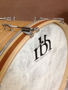 Mahogany Monarch bass drum with maple hoops/mahogany inlay